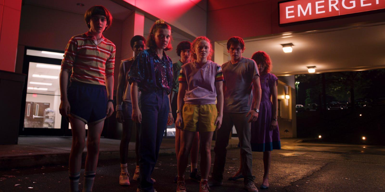 Parte del elenco protagónico de Stranger Things en la tercera temporada