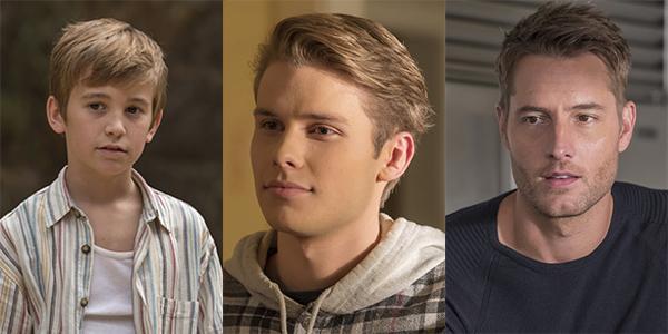 Parker Bates, Logan Shroyer y Justin Hartley como Kevin Pearson