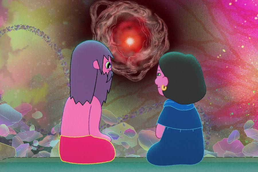 Clancy (Duncan Trussell) conversando con la simulación su madre, frente al cosmos.