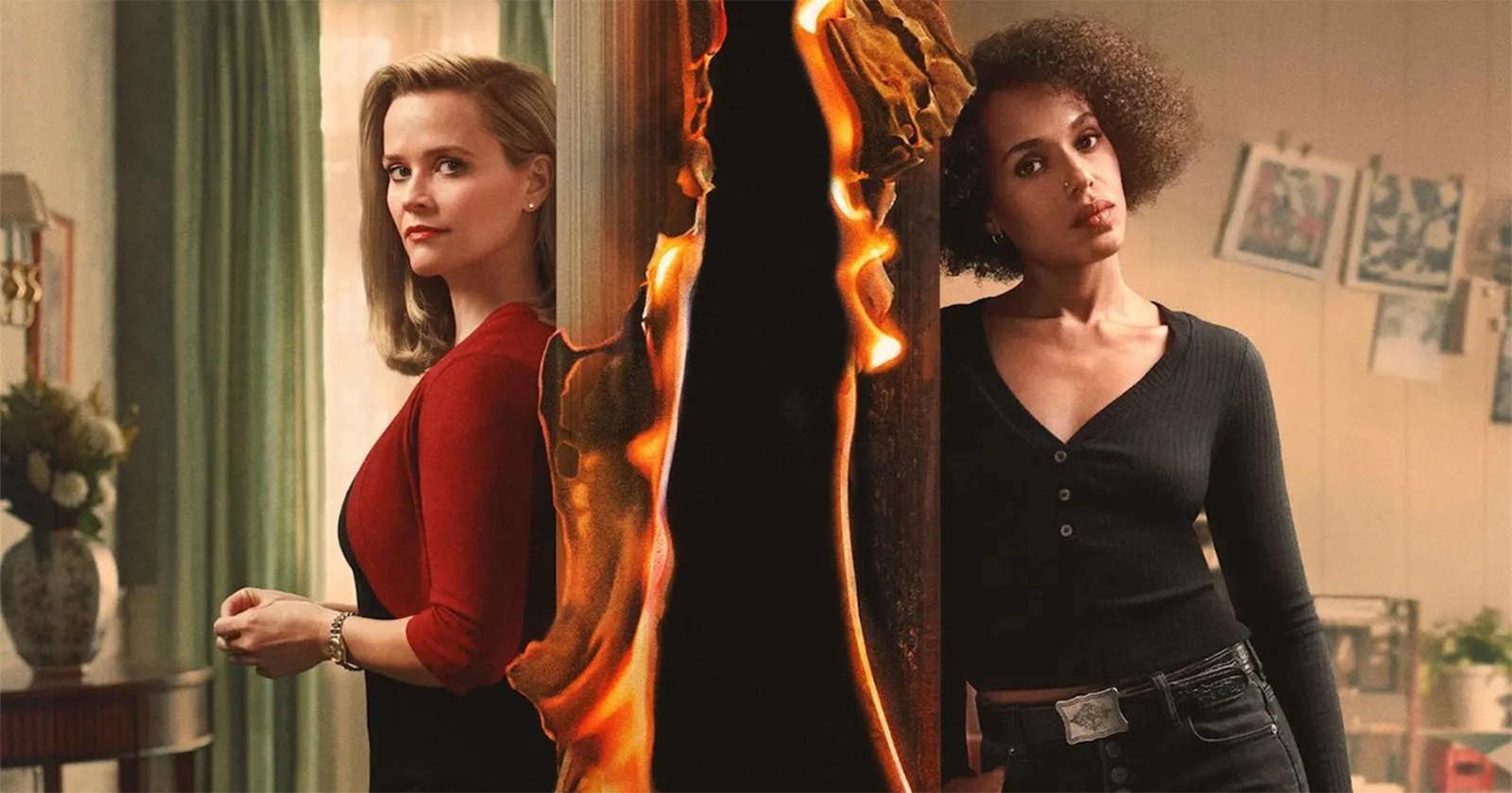 Reese Witherspoon y Kerry Washington en Little Fires Everywhere. En la foto aparecen separadas por un efecto de fuego.