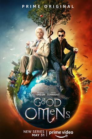 Michael Sheen como el ángel Aziraphale y David Tennant como el demonio Crowley en la serie Good Omens