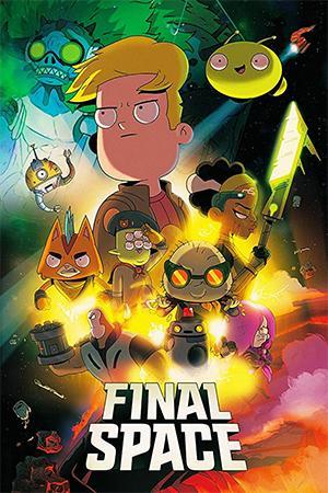Imagen con los personajes principales de Final Space. Gary, Mooncake, Avocato, Quinn, entre otros.