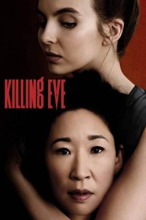 Killing Eve, Eve sostiene a Villanelle de manera romántica mientras caen gotas rojas que simbolizan sangre