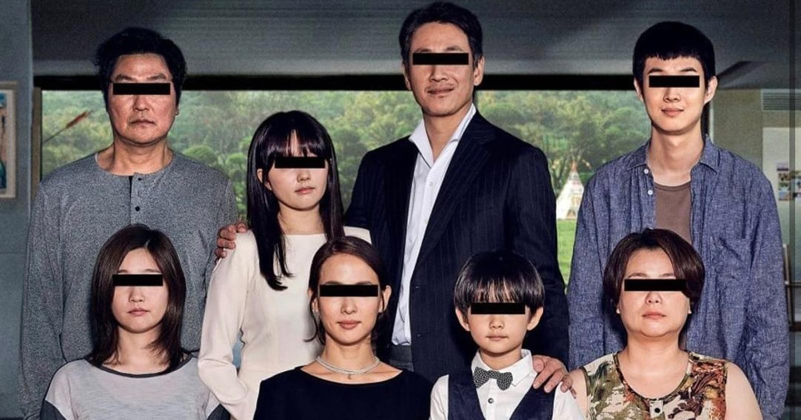 Todos los personajes de la película Parasites con los ojos censurados