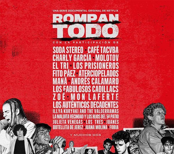 El afiche de Rompan todo, que hace alusión al line-up de un festival musical.