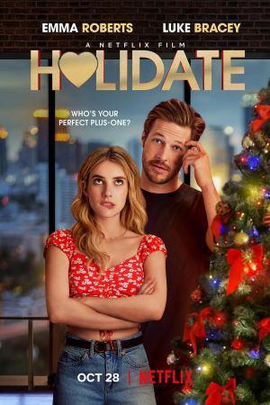Emma Roberts como Sloane Reed y Luke Bracey como Jackson en Amor de calendario en la fiesta de año nuevo